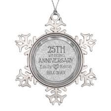 25th wedding anniversary christmas ornament 25th anniversary ornaments keepsake ornaments zazzle