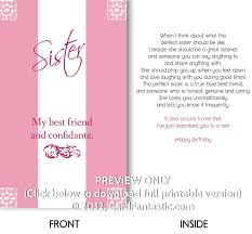 printable birthday cards for sister printable invitations
