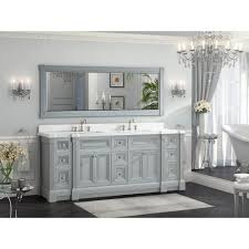 Studio Bathe Kalize by 84 Inch Gray Finish Double Sink Bath Vanity Cabinet With Mirror
