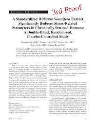 Double Blind Research A Standardized Withania Somnifera Extract Significantly Reduces