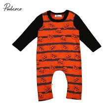 newborn infant baby boys halloween costume pumpkin romper clothes