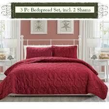 Burgundy Duvet Sets Burgundy Luxury Queen Size 3 Piece Cotton Quilt Bedspread Set