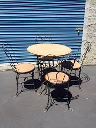 ice cream parlor table and chairs set 1930 s set of four ice cream parlor chairs and table set with