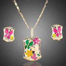 necklace sets design images Jewelry set multicolour flower design earrings and necklace sets jpg