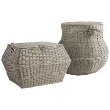 collin gray wicker storage baskets pier 1 imports