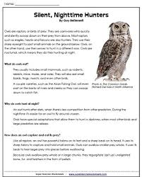 owl reading comprehension passage with questions