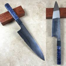 custom japanese kitchen knives mizuno 210mm blue 2 honyaki 210mm gyuto with black and blue dyed