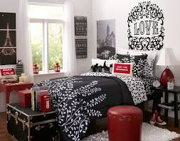 cool image of girl bedroom decoration using black love mural cool image of girl bedroom decoration using black love mural eiffel tower bedroom wall decor including furry white bedroom area rug and round red leather