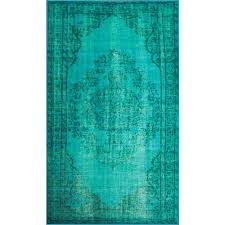 Area Rugs Turquoise Nuloom Vintage Inspired Overdyed Turquoise 5 Ft 5 In X 8 Ft 2