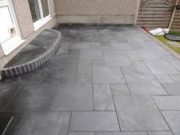 Slabbed Patio Designs Cwm Llynfi Bricklaying Carbon Black Slate Patio