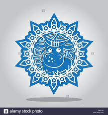 Invitation Card For New Year Snowflake With A Contour Of The Ox On The Chinese Zodiac Signs A