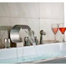 monora brushed nickel waterfall tub faucet three handles round triple handle brushed nickel bathroom tub faucet roman bath