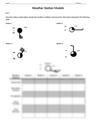 weather station model worksheet doc earth science with lansdowne