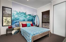 bedroom simple bedroom with gray wall and one side painted with simple bedroom with gray wall and one side painted with waves pictures and also blue pattern fabric blanket with surf board on the corner for beach theme