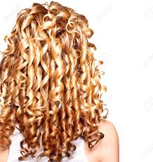 beauty with blonde curly hair long permed hair stock photo