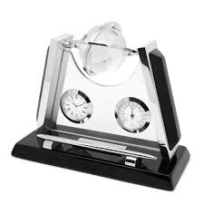 executive office desk clock and pen holder personalised