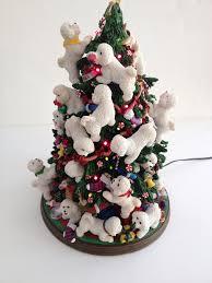 danbury mint bichon frise light up christmas tree excellent
