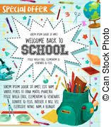 school supplies and stationery banners templates school vector