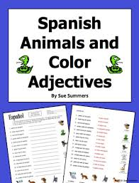 spanish colors adjectives with animals worksheet by suesummersshop