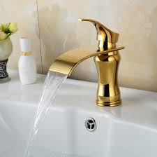 gold finish bathroom faucet brass material basin sink mixer