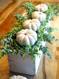 diy fall decor wooden box centerpiece with pumpkins and eucalyptus