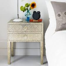 Metal Nightstands With Drawers White Metal 2 Drawer Bedside Table
