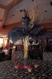 Wedding Feathers Centerpieces by Tall Ostrich Feather And Flower Wedding Or Party Centerpiece On