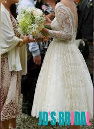 jol314 chic illusion lace low back vintage tea length wedding dress