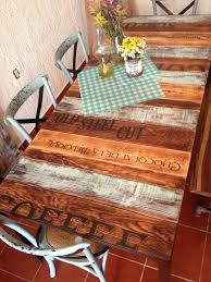 unique wood aqua and burned wood kitchen table with words unique wood iron