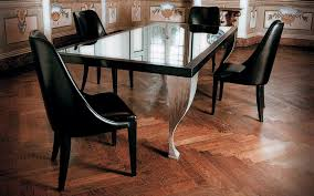 Wooden Dining Table Designs With Glass Top Rectangle Black Stained Wooden Frame Glass Table Top And White