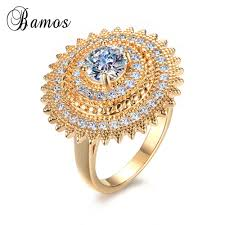 golden flower rings images Korean style big flower style yellow gold filled white aaa zircon jpg