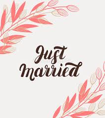 Just Married Cards Just Married Hand Lettering With Branches Background For Wedding