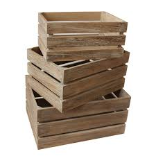 small oak effect slatted wooden storage crate her