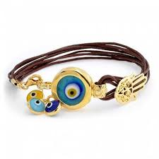 charm bracelet leather images Gold plated sterling silver evil eye charm leather bracelet 7 inch jpg