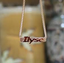 Name Bar Necklace 14k Solid Gold Raised Letter Name Bar Necklace Be Monogrammed