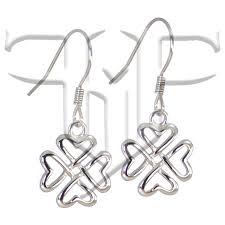 hypoallergenic 316l celtic heart shaped four leaf clover earrings