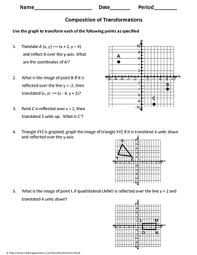 geometry worksheet composition of transformations by my geometry
