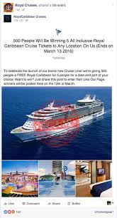 facebook scam promises u0027royal caribbean cruise tickets to any