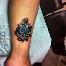 blue anchor tattoos and roses on tattoos with blue