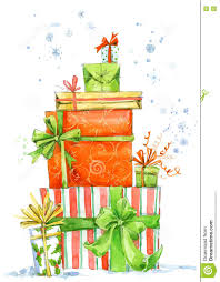 Invitation Card For New Year Christmas Box Watercolor Gift Box Illustration Background For