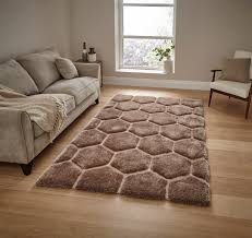 Modern Rugs Uk by Noble House Hand Carved 3d Honeycomb Shaggy Rug Super Soft Hexagon