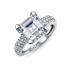 cz engagement ring great gatsby inspired sterling asscher cut cz engagement ring 3ct
