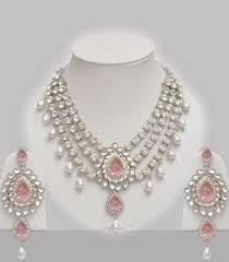 pink pearl studded indian jewelry set indian jewelry