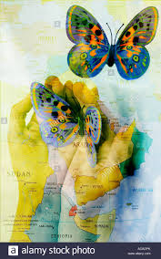 The Middle East Map by Hands Releasing Butterfly Over A Map Overlay Of The Middle East