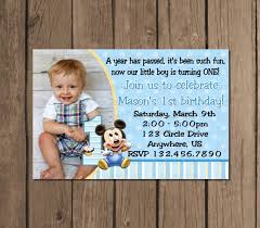 template baby boy first birthday party invitations with baby boy