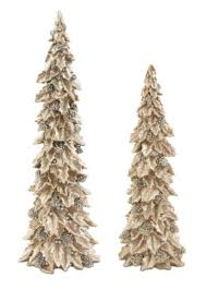 pack of 2 glittered gold and silver holly trees with pine cones