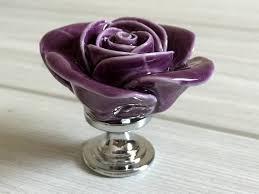 purple glass door knobs purple rose flower cabinet door knobs dresser knobs drawer