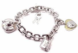link bracelet charms images Louis vuitton charm link white gold bracelet with charms at 1stdibs jpg