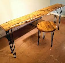 natural wood console table reclaimed wood entry table hairpin leg table reclaimed wood console