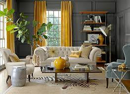 Curtains For Yellow Living Room Decor Living Room Design Eclectic Living Room With Gray Walls And